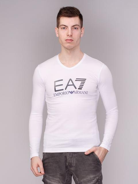 Лонгслів білий з принтом Armani Jeans 3665416