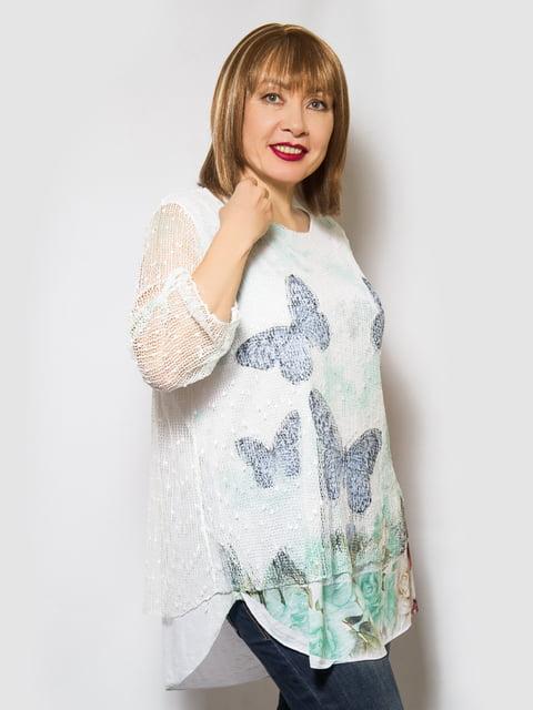 Блуза біла з принтом LibeAmore 4143944