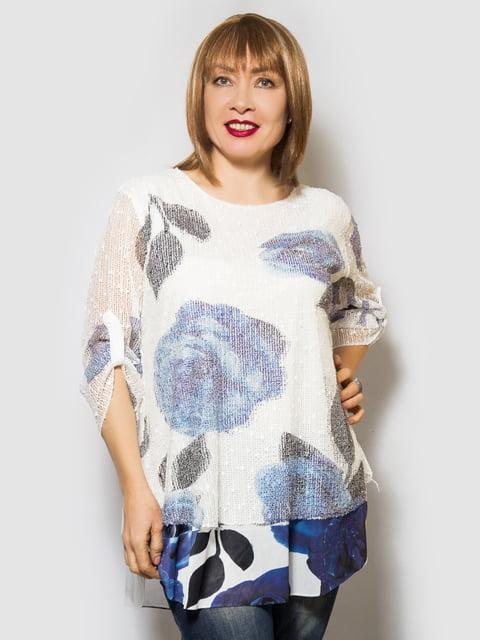 Блуза біла з квітковим принтом LibeAmore 4143950
