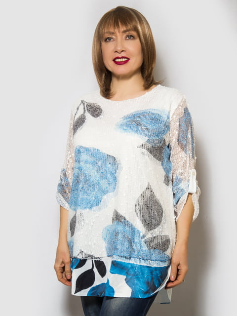 Блуза біла з квітковим принтом LibeAmore 4143951