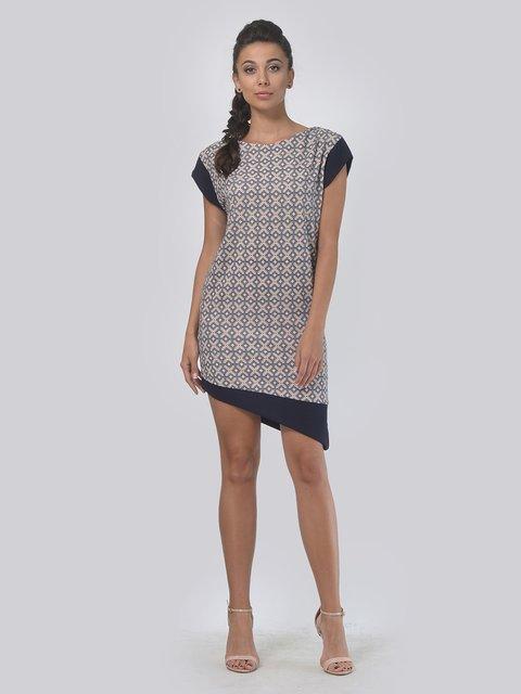 Платье бежево-синее в ромбы AGATA WEBERS 4142166