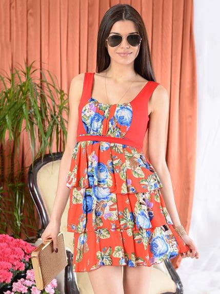 Сарафан червоний в квітковий принт First Land Fashion 4099952