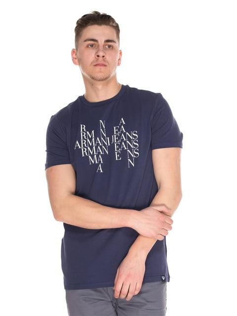 Футболка синя з принтом Armani Jeans 4152579
