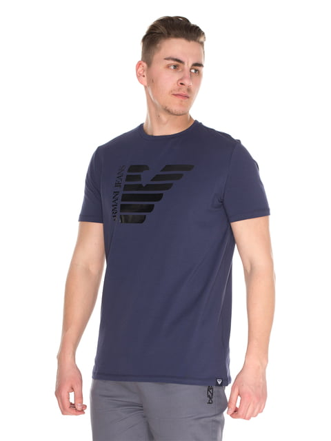 Футболка темно-синя з принтом Armani Jeans 4152575