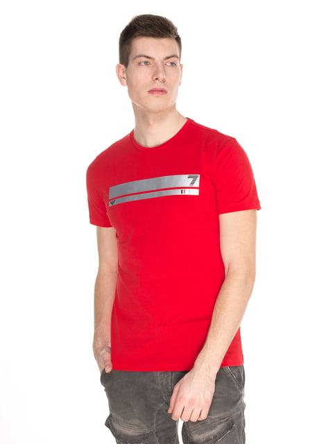 Футболка червона з принтом Emporio Armani 4152585