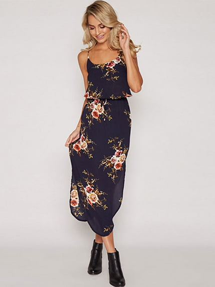 Сукня темно-синя в квітковий принт Maxidress 4166191