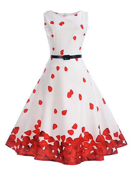 Сукня біло-червона з принтом Maxidress 4166673