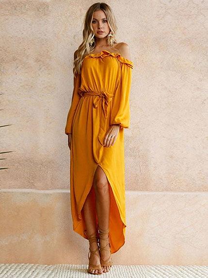 Сукня кольору охри Maxidress 4166892