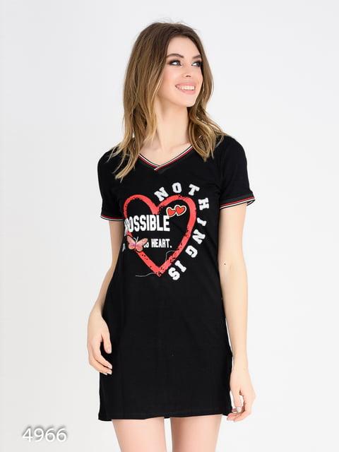 Платье черное с принтом Magnet 4165366