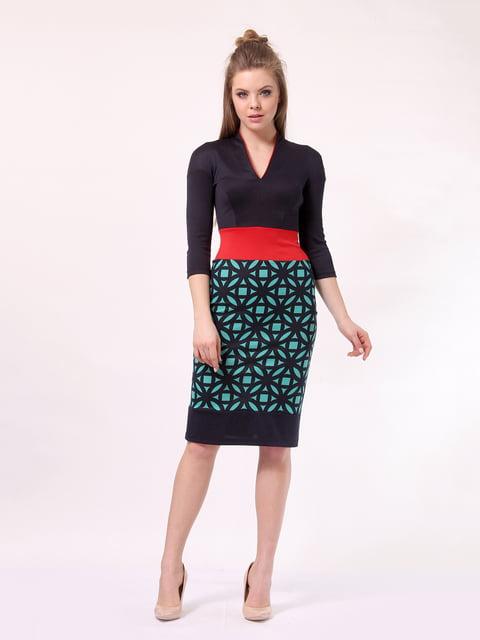 Платье темно-синее с принтом LILA KASS 4170056