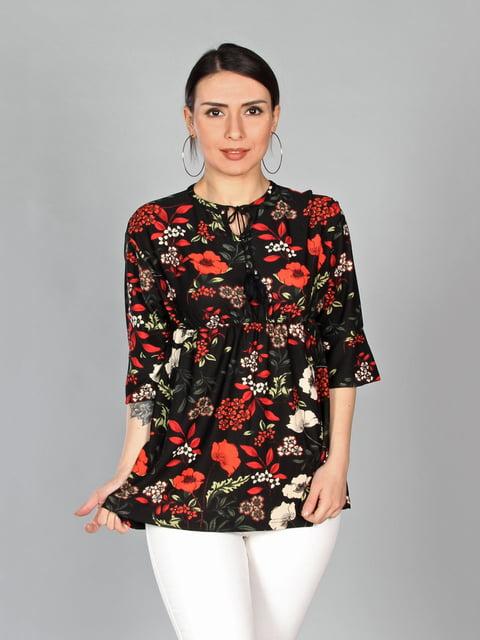 Блуза чорна в квітковий принт PINKMARK 4197297