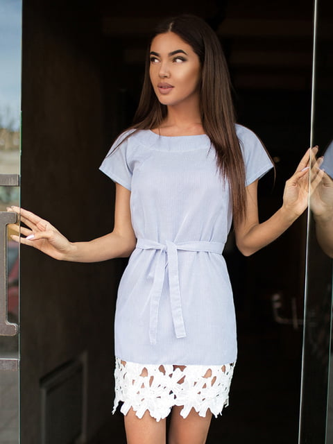 Платье бело-голубое Gepur 4199412