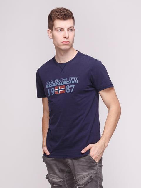 Футболка темно-синя з принтом Napapijri 4208703