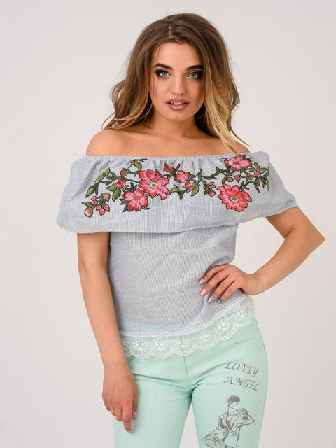 Блуза серая с вышивкой Magnet 4214478