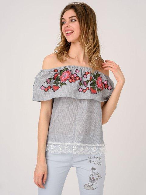 Блуза серая с вышивкой Magnet 4214483