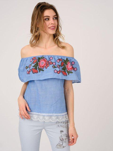 Блуза синяя с вышивкой Magnet 4214493