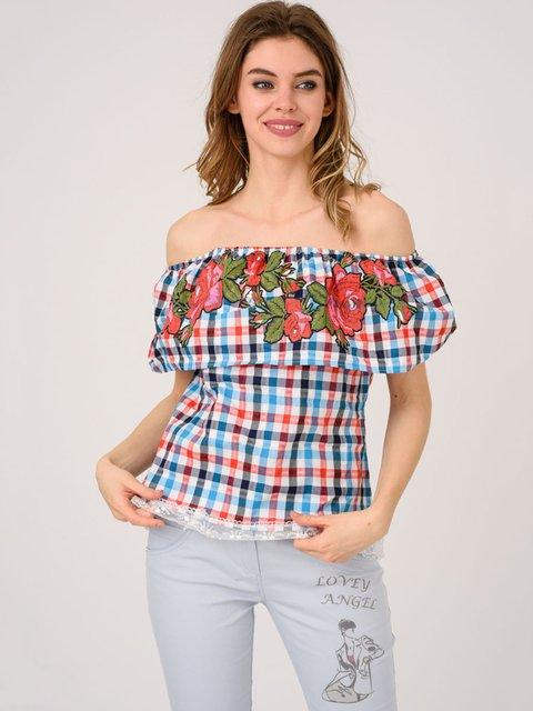Блуза в клетку с вышивкой Magnet 4214501