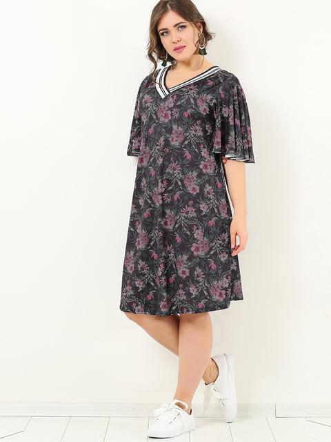 Сукня чорна в квітковий принт Valeria Fratta 4213272