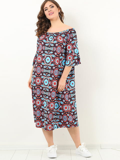 Сукня в різнобарвний принт Valeria Fratta 4213286