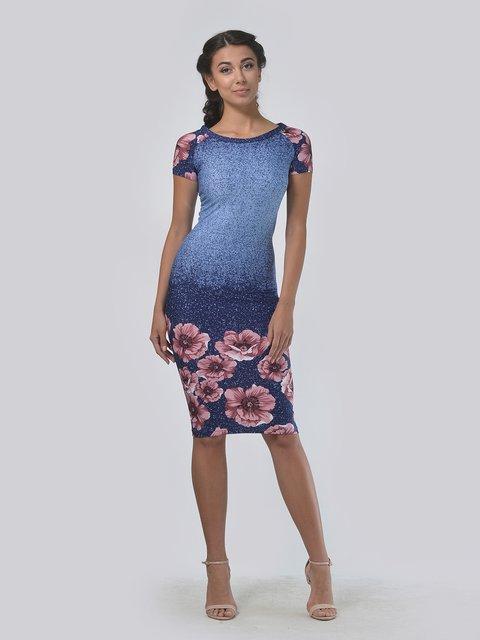 Платье синее с цветочным принтом LILA KASS 4151953