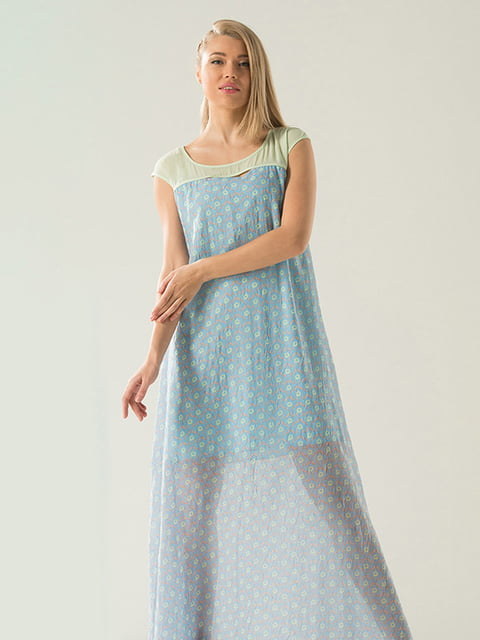 Сукня блакитна у принт Lesya 4138701