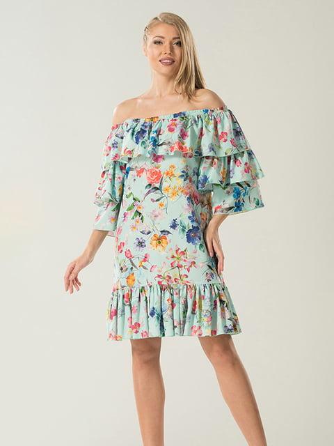 Сукня кольору м'яти в принт Lesya 4177924