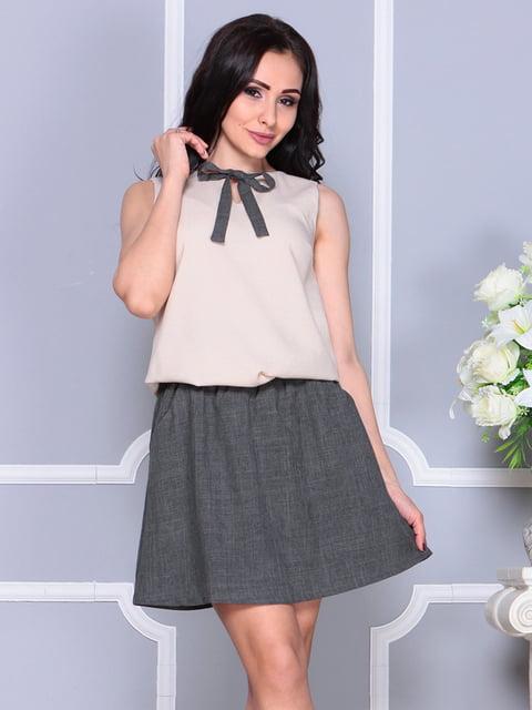 Сукня бежево-графітового кольору Laura Bettini 4238442