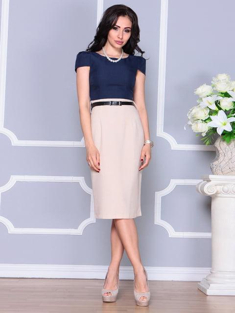 Сукня бежево-синя Laura Bettini 4238460