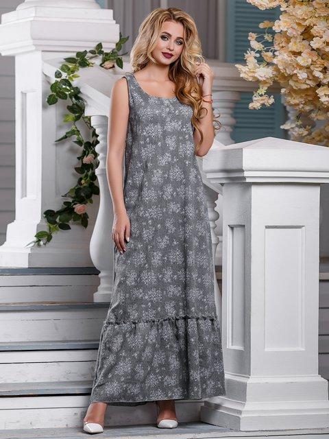 Платье серое в цветочный принт Seventeen 4262975