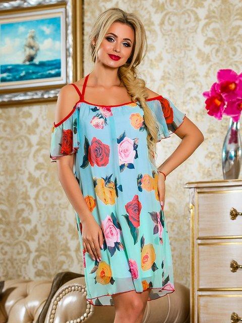 Сукня бірюзова в квітковий принт Seventeen 4263048