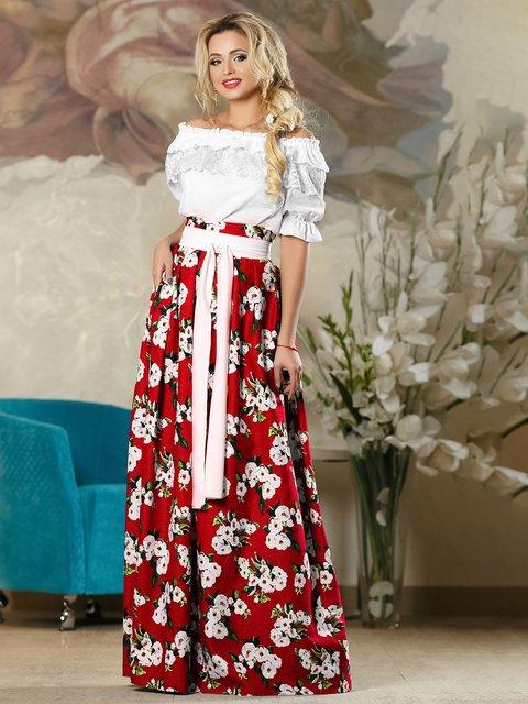 Спідниця червона в квітковий принт Seventeen 4263083