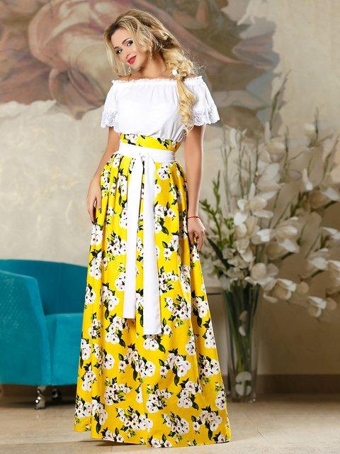 Спідниця жовта в квітковий принт Seventeen 4263086