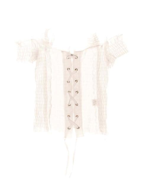 Блуза біла зі шнурівкою Vivien 1236944