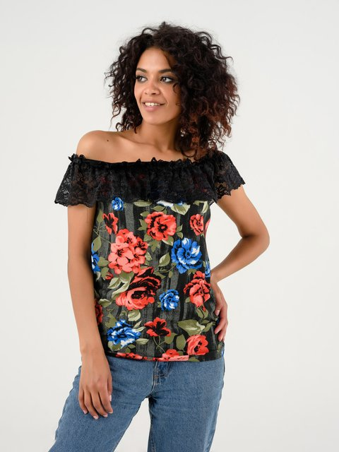 Блуза сіра в квітковий принт Magnet 4237755