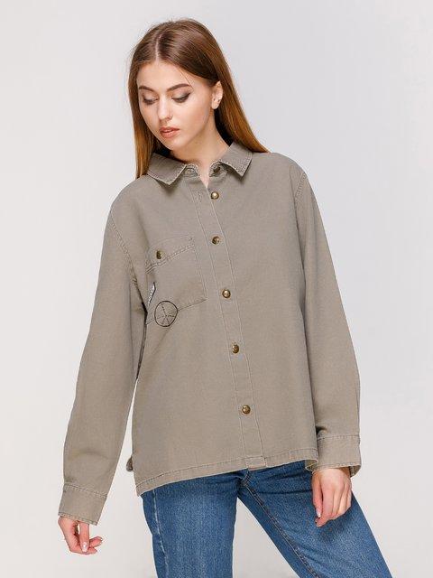 Рубашка цвета хаки Zara 3268310