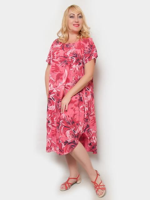Платье коралловое в цветочный принт LibeAmore 4324383