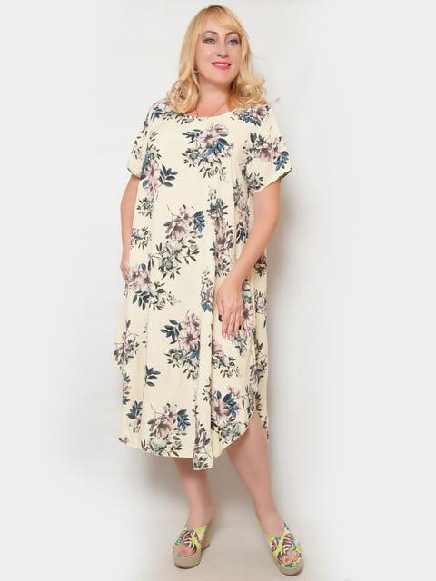 Платье светло-желтое в цветочный принт LibeAmore 4324391