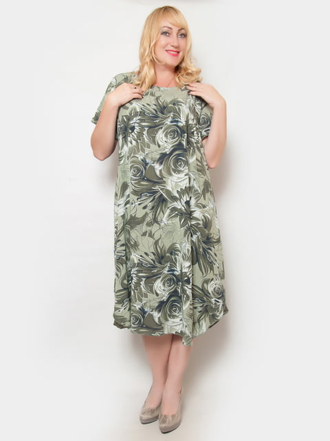 Платье оливковое в цветочный принт LibeAmore 4324396