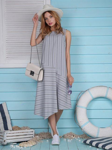Платье серое в полоску Jet 4311698