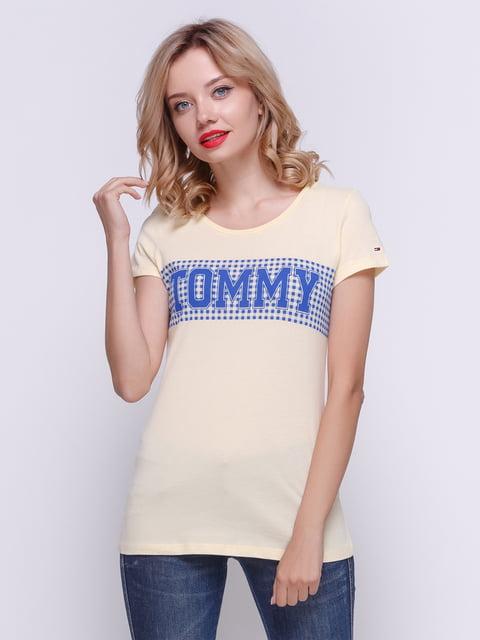 Футболка желтая с принтом Tommy Hilfiger 4332624
