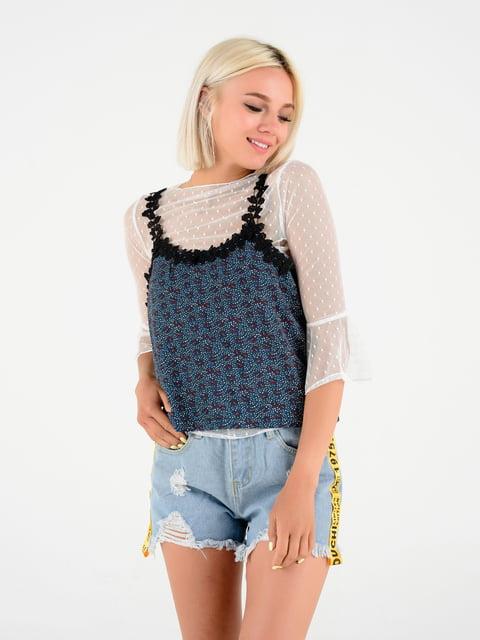 Блуза біло-синя в принт Magnet 4312311