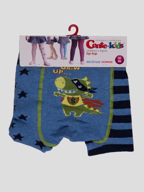 Колготки голубые в полоску и рисунки Conte Kids 2625747