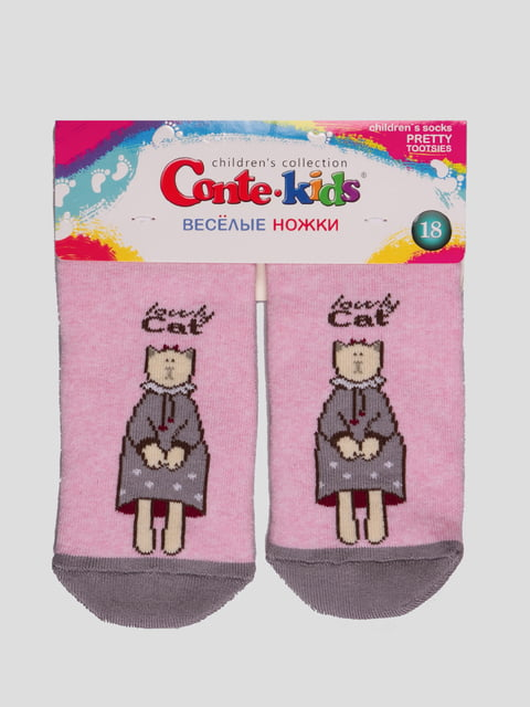 Шкарпетки світло-рожеві з малюнком махрові Conte Kids 4366773