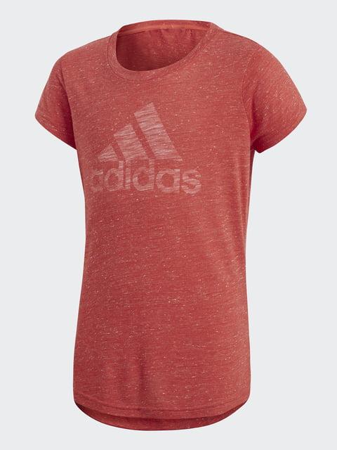 Футболка коралловая с принтом Adidas 4375504