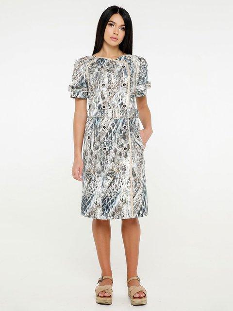 Платье светло-серое в принт Favoritti 4382196