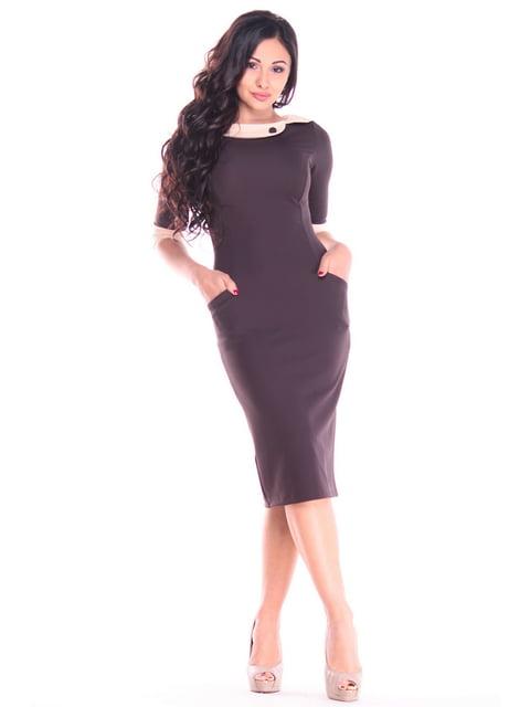 Платье шоколадно-бежевого цвета Maurini 4382787