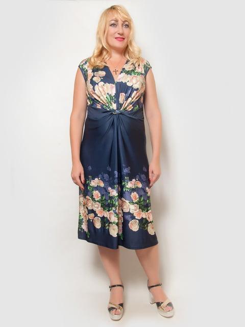 Платье синее в цветочный принт LibeAmore 4386139