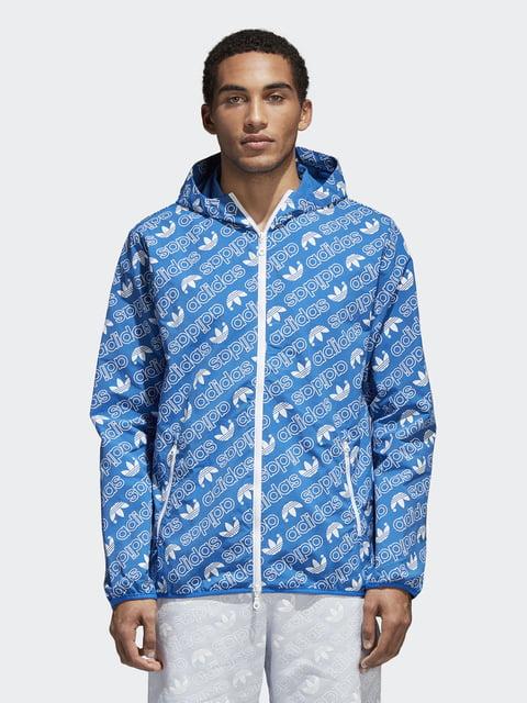 Вітрівка блакитна в принт Adidas 4375884