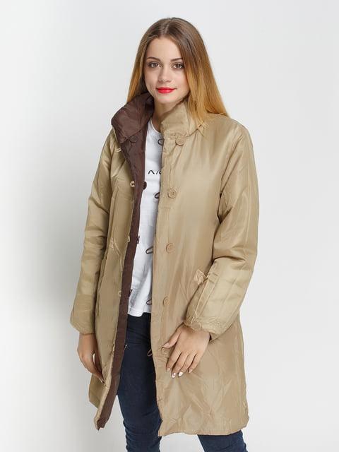 Куртка бежево-коричнева двостороння Venca 4327088