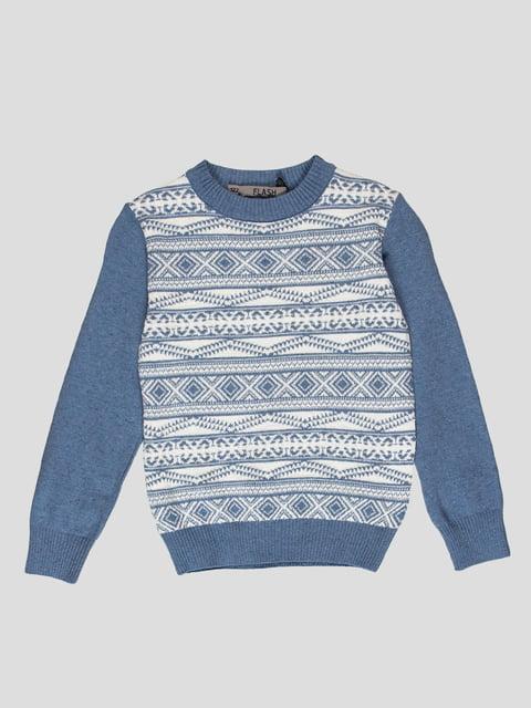 Джемпер біло-блакитний з принтом Flash 4397378
